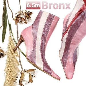 BRONX Pink Maroon Striped Leather Boots 6.5m